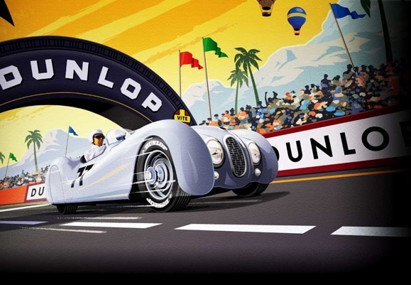 Graphic art of historic racing car passing under the dunlop arch at lemans